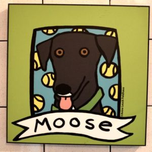 painting of Moose , Mascot of Moosie's ice cream and coffee parlor, medford, wi