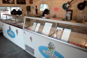 32 flavors of Cedar Crest Ice Cream, yogurt, sherbet on display, Medford, WI