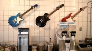 guitars on display at Moosie's ice cream and coffee parlor, medford, wi