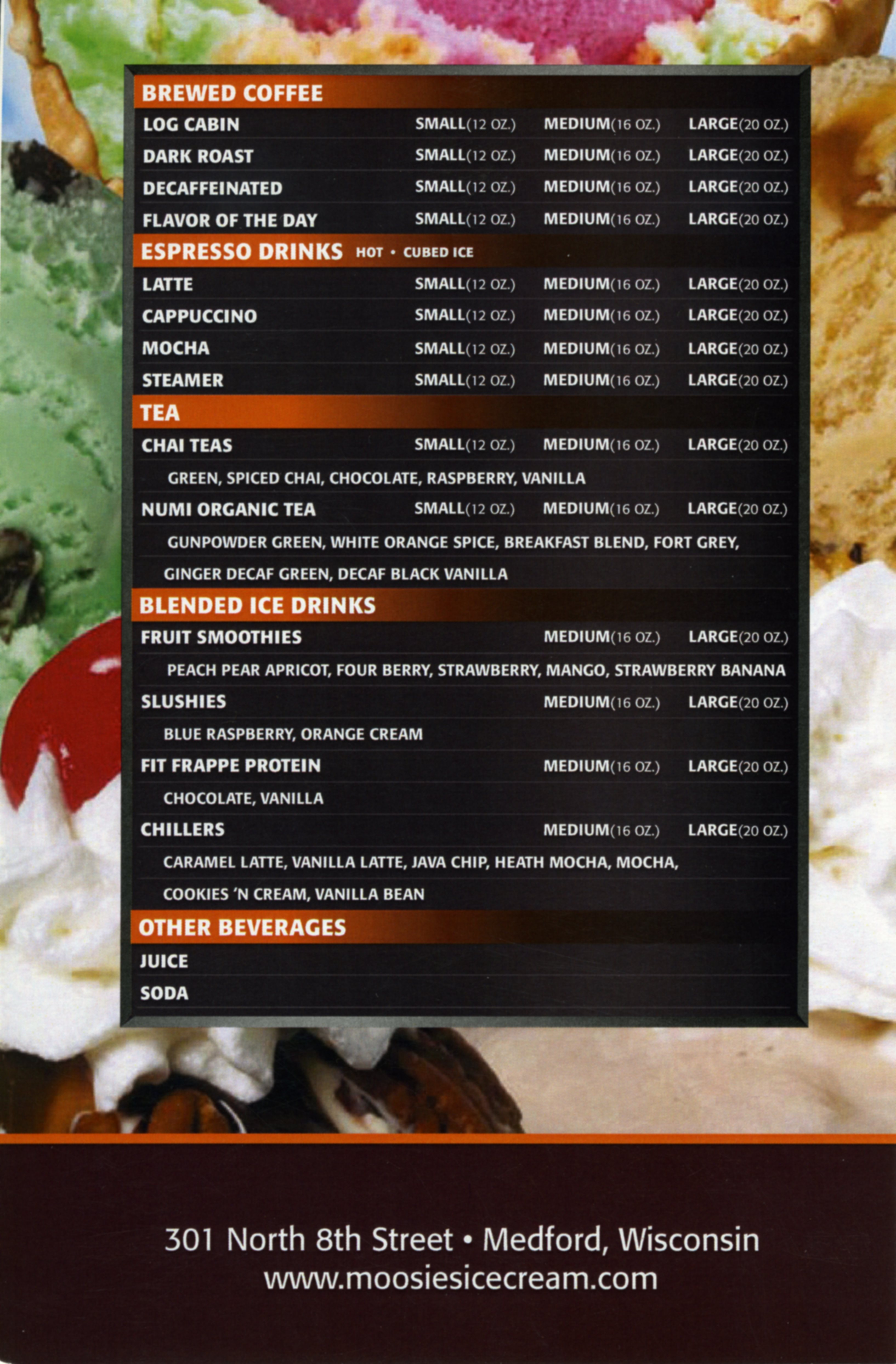 Moosie's Ice Cream Parlor, Medford WI, Menu Card back, Drinks, Coffees, and Teas