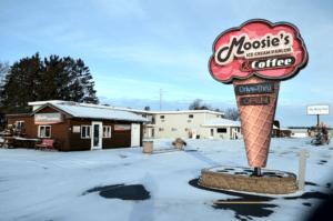 Moosie's ice cream parlor Medford, WI. Coffee too.